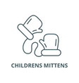 childrens mittens line icon linear concept vector image