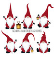 christmas gnomes collection isolated on white vector image vector image