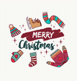 christmas holiday winter clothes cartoon card vector image