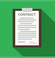 clipboard with contract document on green flat vector image