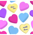 colorful hearts on white background vector image vector image