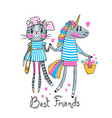 cute card with best friends baby kitten vector image