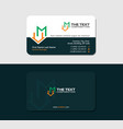 dark green business card with letter m and roof vector image vector image