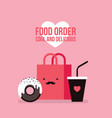 delicious donut coffee and shopping bag cute food vector image vector image