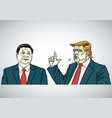 donald trump and xi jinping cartoon portrait vector image vector image