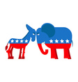 Donkey and elephant symbols of political parties vector image vector image