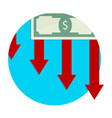 finance decline and collapse icon vector image vector image