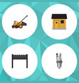 flat icon dacha set of pump lawn mower stabling vector image vector image