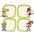 four border templates with happy clowns vector image vector image