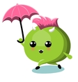 Green Monster With Umbrella Under Rain vector image vector image