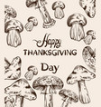 happy thanksgiving card line art mushrooms and vector image vector image