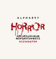 lettering horror and alphabet letters with blots vector image vector image