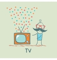 man standing next to the best TV vector image vector image