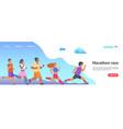 marathon race landing page jogging people website vector image