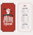 menu on red background with fork in hand vector image vector image