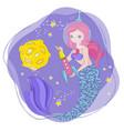 mermaid rocket space cartoon princess illus vector image vector image