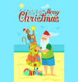merry christmas santa claus and monkey decorating vector image vector image