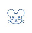 mouse head line icon concept mouse head flat vector image vector image