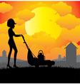 Mower background sun vector image