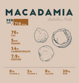 nutrition facts of of macadamia vector image