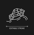 off road racing white linear icon for dark theme vector image