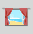 open window view of the beach vector image