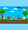 pixel game scene with icons cherry and star coin vector image vector image