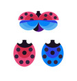 red and blue ladybug and ladybird icons vector image