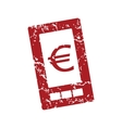 Red grunge euro phone logo vector image vector image