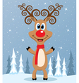red nosed reindeer vector image vector image
