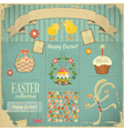 Retro Card with Easter Set vector image vector image