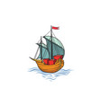 sailing ship retro transport marine background vector image