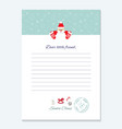santa claus letter decorative blank template a4 vector image