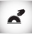 saw hand cut hazard on white background vector image