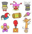 set element circus doodle style vector image