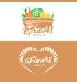 set farmers market hand written lettering logos vector image vector image