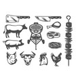 set grill and barbecue icons vector image vector image