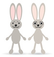 Set of two cute rabbits on a white background vector image vector image