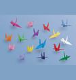 set paper birds on blue backgroundart vector image