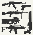 silhouette of guns vector image vector image