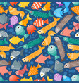 simple flat style fish seamless pattern vector image
