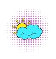 Sun and cloud icon comics style vector image vector image