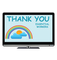 thank you essential workers tv message vector image vector image
