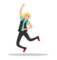 the woman jumps joyful the girl win success vector image