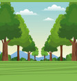 tree forest natural sky meadow mountain vector image vector image