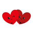 two lovers hearts vector image vector image