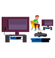 video game console teen playing modern vector image vector image