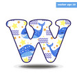 w letter with pattern vector image vector image