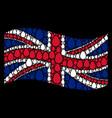 waving great britain flag mosaic of egg icons vector image