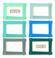 Wooden picture frames blue set vector image